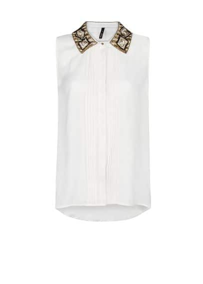 Beaded neck chiffon shirt