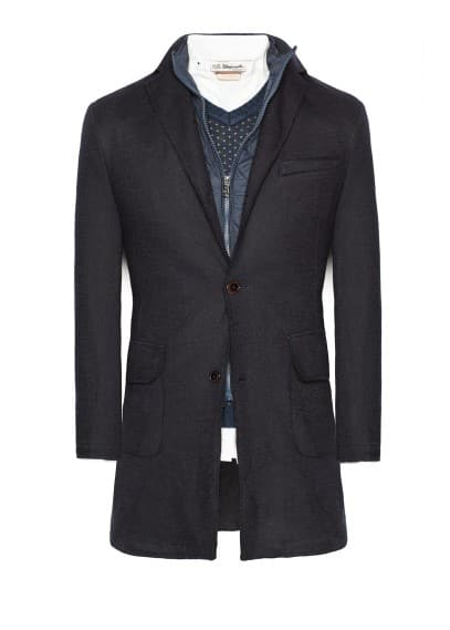 Raw-edge wool-blend frock coat