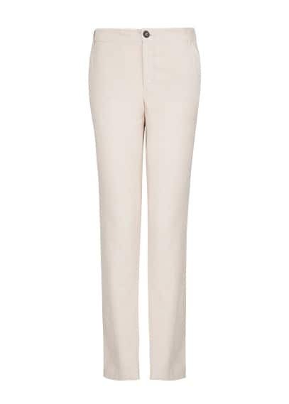 Straight-fit linen cotton-blend trousers