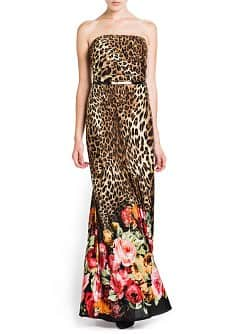 PRINTED STRAPLESS GOWN
