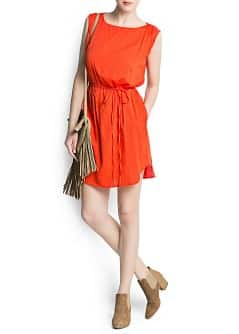 Drawstring draped shoulders dress