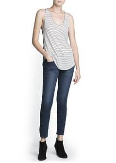Contrast back striped top