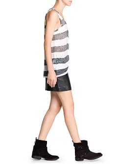 Washed effect striped top