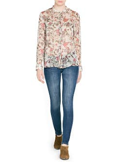 Pleated chiffon floral blouse