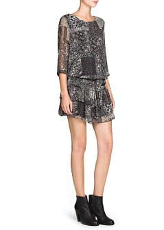 Snake print ruffled dress