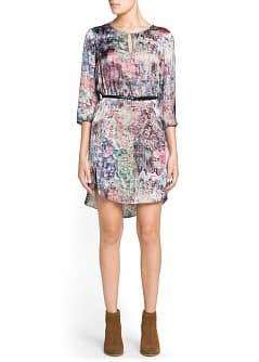 Landscape print satin dress