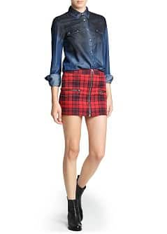 Zippers plaid miniskirt