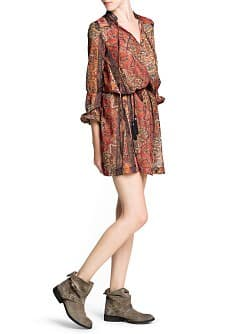 Ethnic print chiffon dress