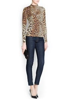 LEOPARD PRINT FITTED T-SHIRT