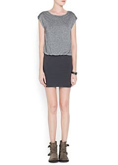 Textured skirt combi dress