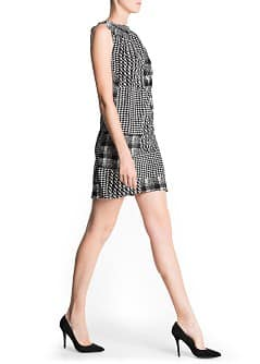 Houndstooth print pleated dress