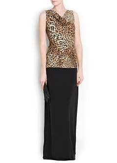 LEOPARD PRINT DRAPED TOP