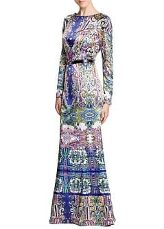 Satin printed long dress