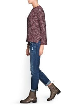 Contrast neck flecked sweatshirt