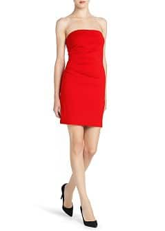 Ruched detail strapless dress