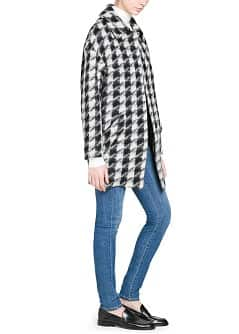 Houndstooth wool-blend oversize coat