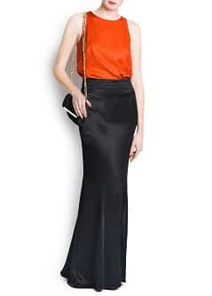 Satin finish long skirt