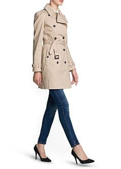 Puffed shoulder cotton trench coat