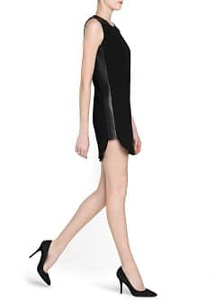 Leather appliqués crepé dress
