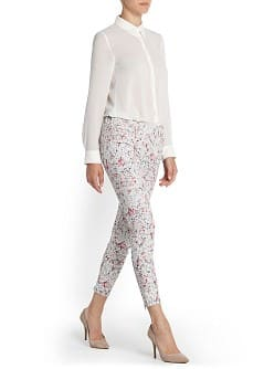 Printed jacquard slim-fit trousers