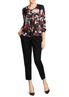 Quilted shoulder floral blouse