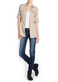 LINEN COTTON-BLEND BLOUSE
