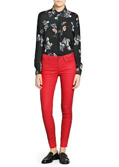 Super slim-fit coated red jeans