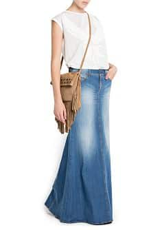 MEDIUM WASH DENIM LONG SKIRT