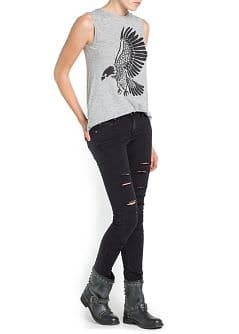 SUPER SLIM-FIT BLACK RIPPED JEANS