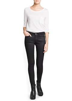 Super slim-fit coated black jeans
