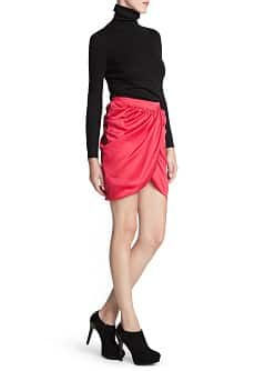 Wrapped satin skirt