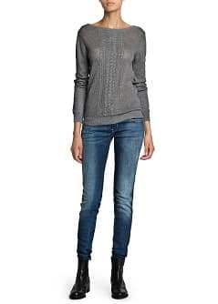 Pointelle wool cotton-blend sweater