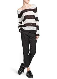 Openwork detail striped sweater