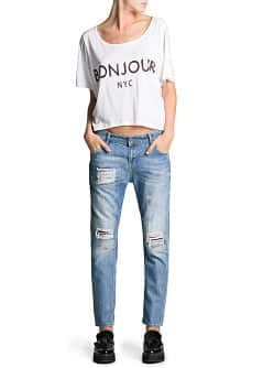 Cotton modal-blend printed t-shirt