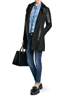 Manteau biker empiècements cuir
