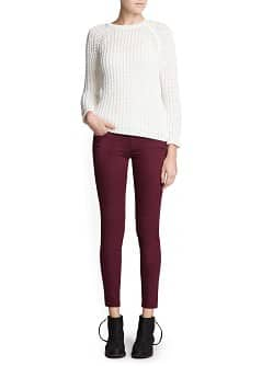 Super slim-fit burgundy jeans