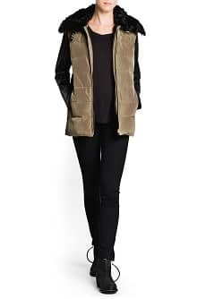Leather sleeve detachable anorak