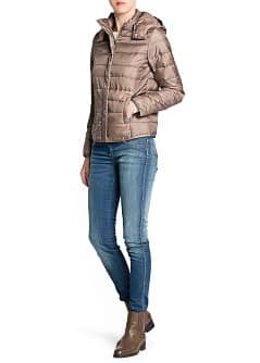 Foldable hooded feather down coat