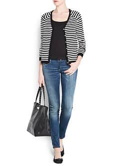 V-neck striped cardigan