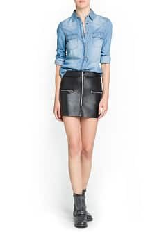 Zipped leather miniskirt