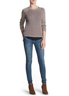 Metallic thread cotton-blend sweater