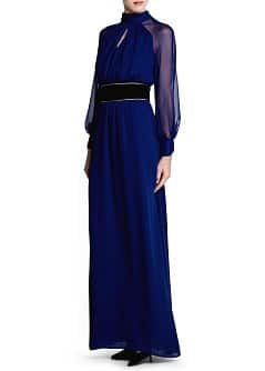 Sash belt flowy long dress