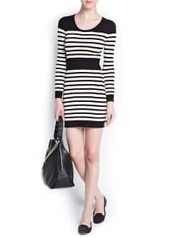 STRIPED COTTON KNIT DRESS