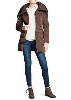 Belt long feather down coat