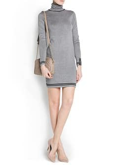 Contrast trimmings knit dress