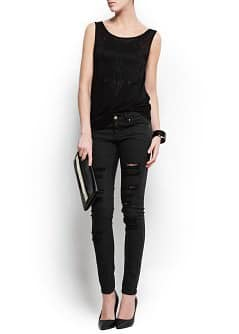 Super slim-fit ripped Stone jeans