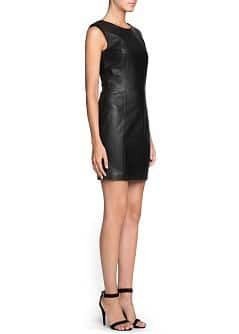 Padded shoulder leather dress