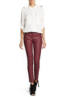 Super slim-fit coated burgundy jeans