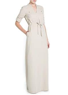 Crepé shirt long dress