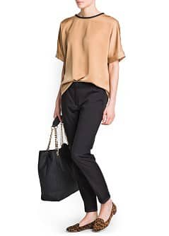 CONTRASTED NECK SHIRT